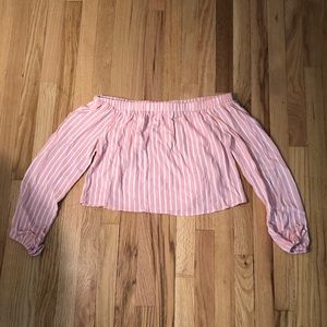 Pink and White Long sleeve Crop
